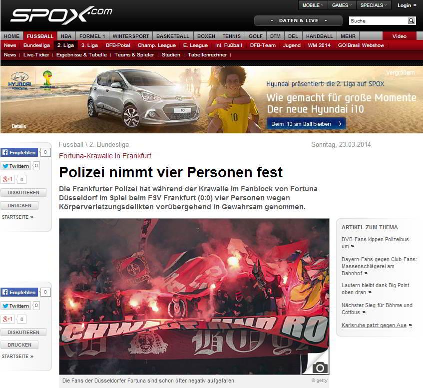 Fortuna-Krawalle in Frankfurt  Polizei nimmt vier Personen fest - Sport Fussball 2. Bundesliga