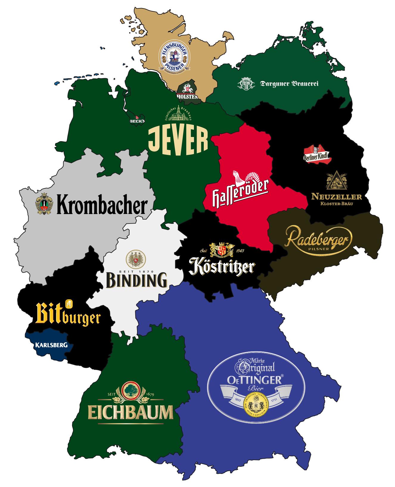 Karte mit den bekanntesten Biermarken Deutschlands nach Bundesländern aufgeschlüsselt